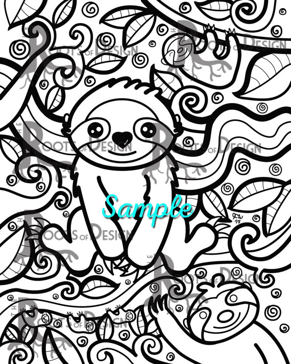 Instant Download Coloring Page Sloth Art Coloring Print Etsy Sloth Art Coloring Pages Cute Coloring Pages