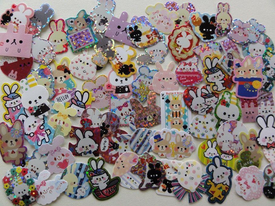 Cute Kawaii Rabbit Bunnies Flake Stickers - 70 pcs