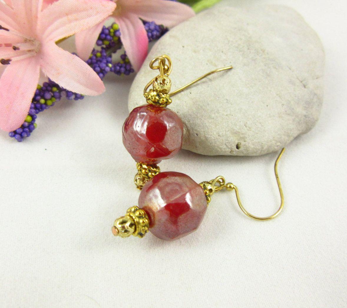 Burgundy Glass Dangle Earrings Handmade Gold Plated Earrings by PMOriginals on…