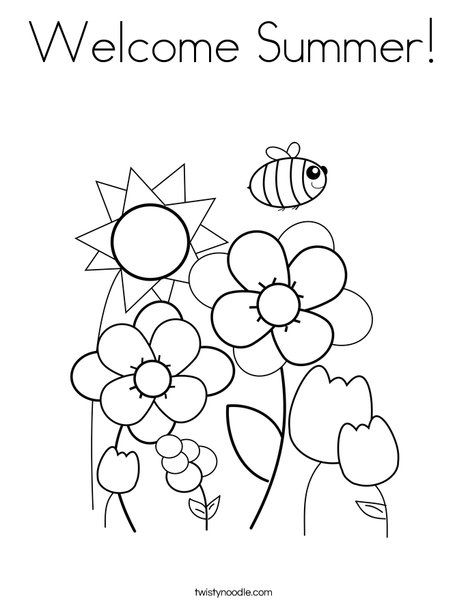 Welcome Summer Coloring Page From Twistynoodle Com Spring