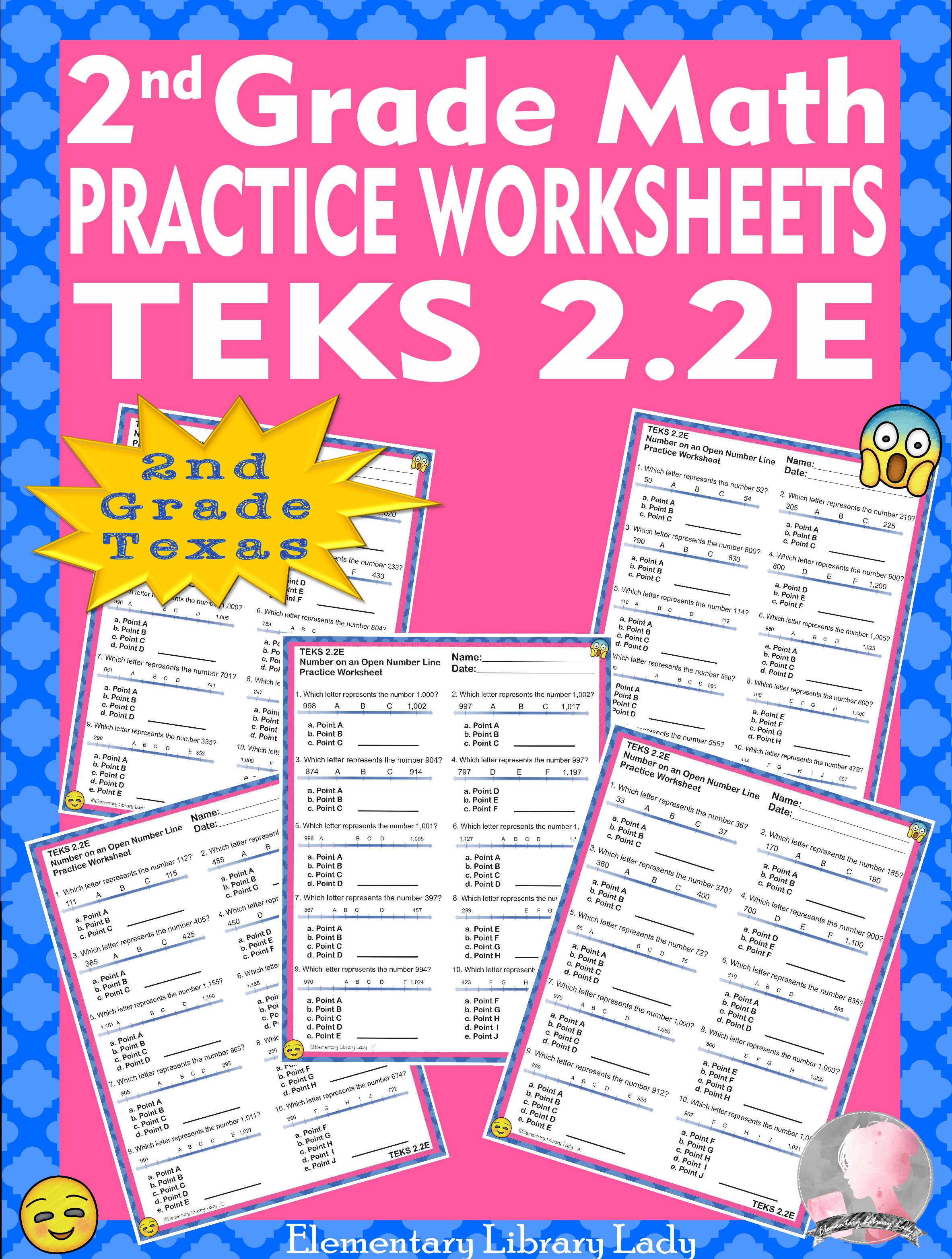 Math Teks 2 2e Texas 2nd Grade Practice Worksheets Number