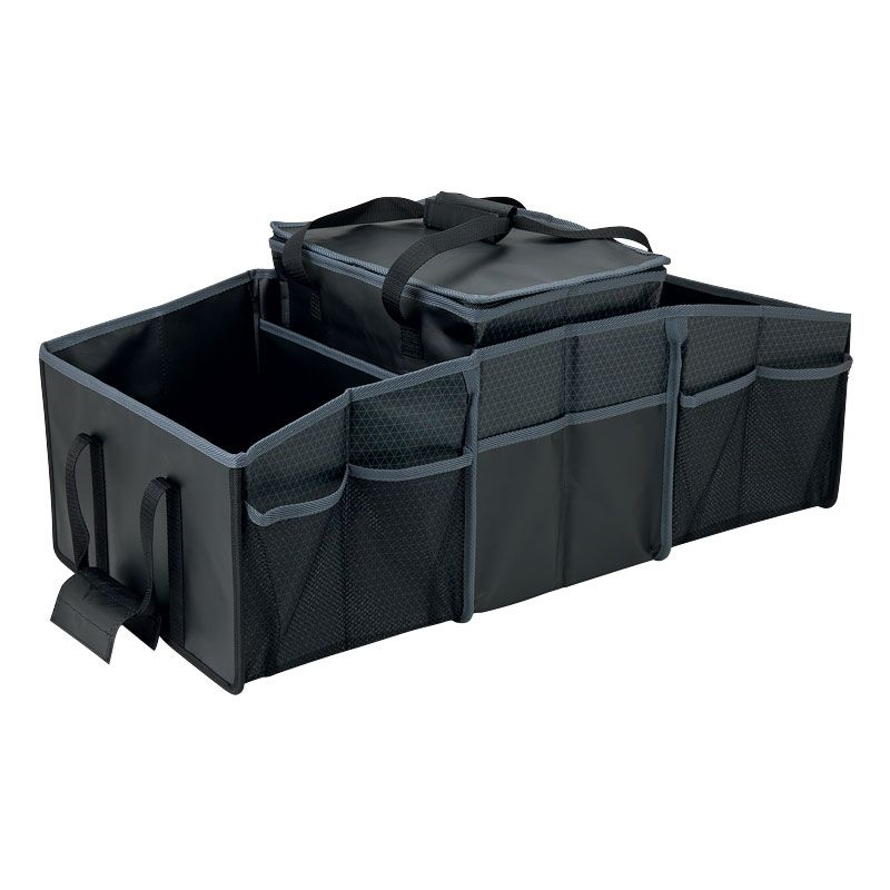 3 compartment folding car trunk organizer with picnic cooler bag