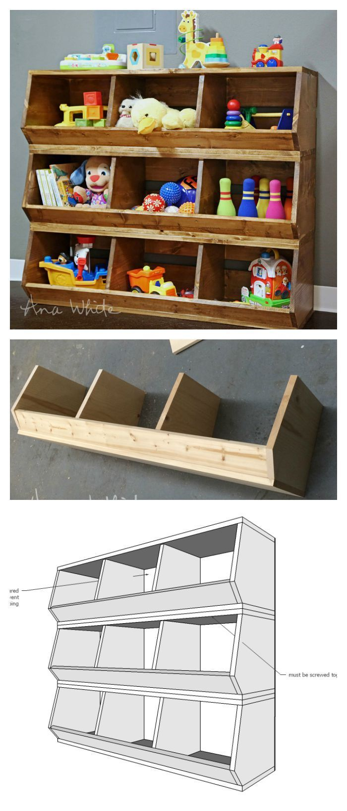 Toy Bin Organizer Kids Childrens Storage Box Playroom: Build These Bulk Bins Out Of 1x12 Boards! Easiest Plans