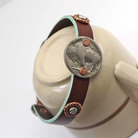 Leather buffalo nickel bracelet, mixed metal silver copper, coin jewelry, cuff, 8 inches $24