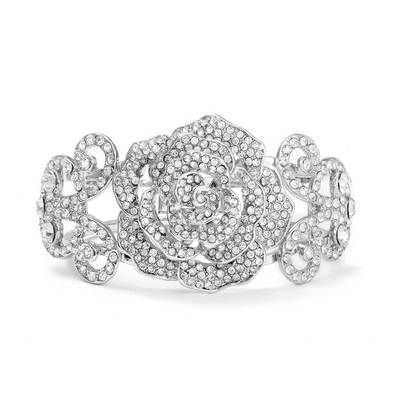 Pave Etched Rose Cuff Bracelet at bridepower.com