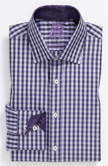 English Laundry Trim Fit Dress Shirt Camisas Camisa De Cuadros