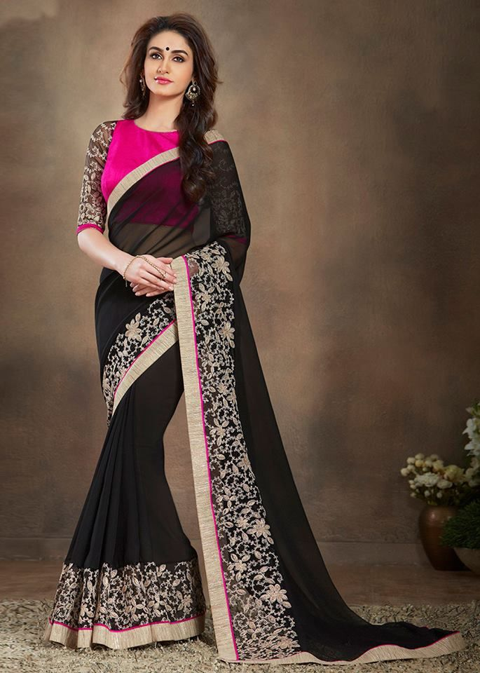 ffe6d157f0 Black georgette and net saree embossed with zari, resham embroidery, dori,  lace and patch border work. Available with pink art silk blouse with black  net ...