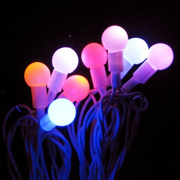 ksa set of 25 led multi color twinkling g12 berry christmas lights white wire