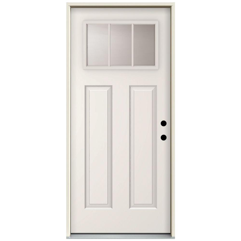 Steves Sons 36 In X 80 In 3 Lite Right Hand Outswing Primed White Steel Prehung Front Door With 4 In Wall St30 3l 30 4orh The Home Depot Front Door Home Painted Exterior Doors
