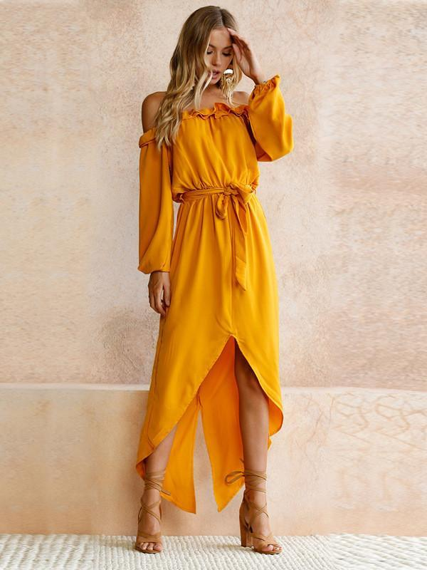 7e2dbcb92efd Pattern Split-side Occasion Casual Daily Beach Material Dacron Style Maxi  Dress Color Yellow Size S