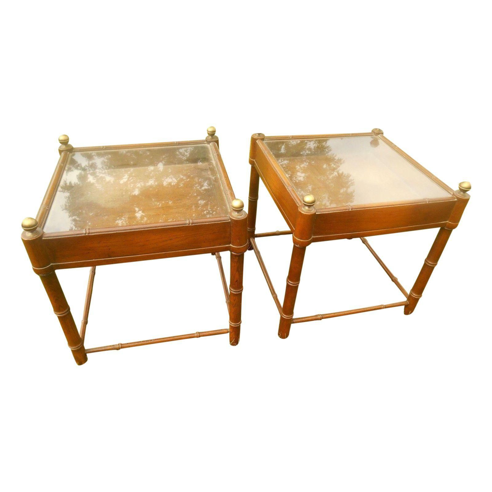 MidCentury Faux Bamboo Glass Top End Tables Pair Faux Bamboo - Bamboo end table glass top