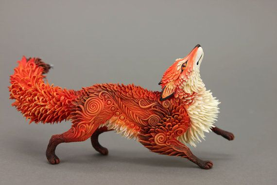 Red Fox Animal Totem Figurine Sculpture Animal by DemiurgusDreams