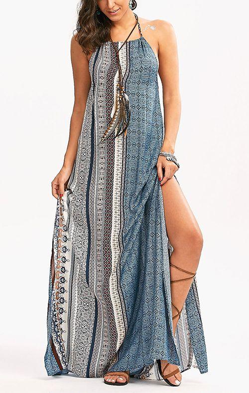 Bohemia Halter High Slit Maxi Dress | Nähen schnittmuster ...