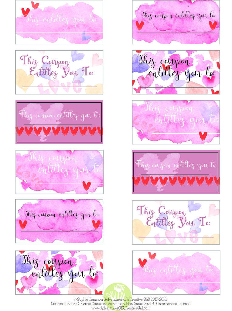 Free Printable Valentine\u0027s Day Coupons Projects to Try Love