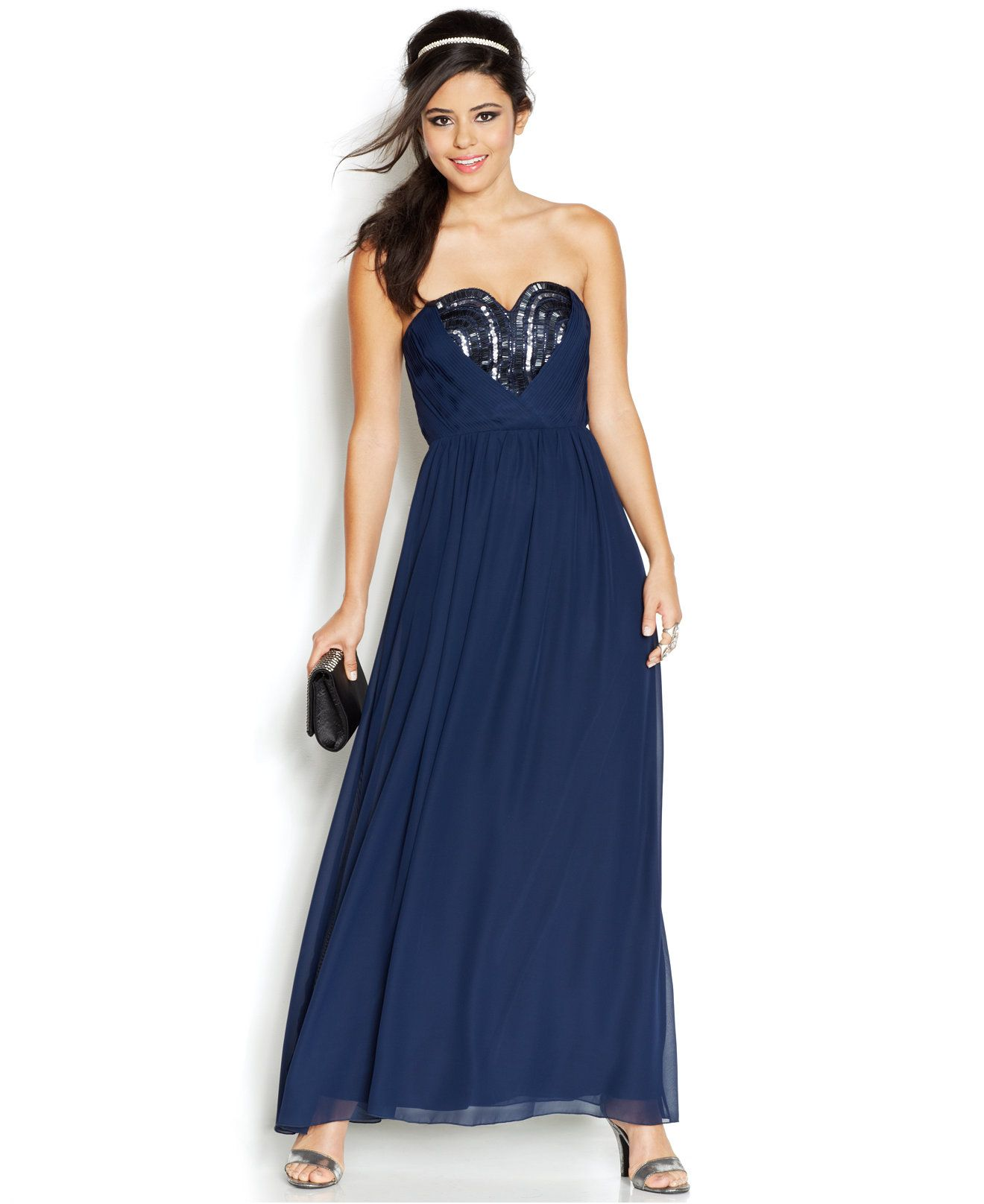 Top dresses to wear to a wedding  Trixxi Juniorsu Strapless Beaded Gown  Macyus  Fashion  Pinterest