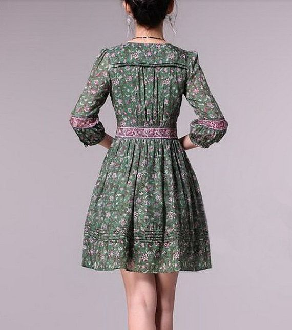 Floral Pattern V Collar Silk Dress by zeniche on Etsy
