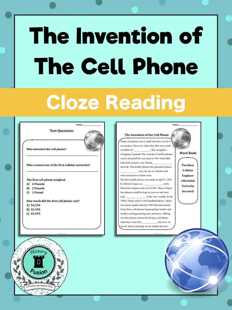 Differentiated Cloze Kit Invention Of The Cell Phone Cloze Reading Reading Comprehension Assessments Reading Passages [ 1024 x 768 Pixel ]
