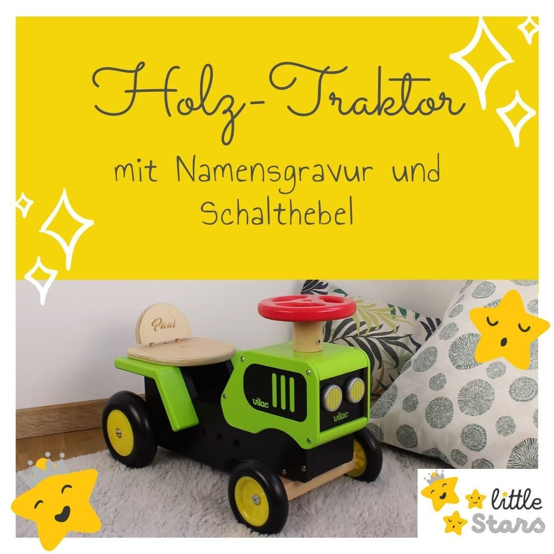 Littlestars Shop Posted To Instagram Rutschauto Mit Vier Radern Aus Holz Traktor Mit Schalthebel Und Hupe Schult Die Motorik Der Kleinen P In 2020 Toy Car Toys Car