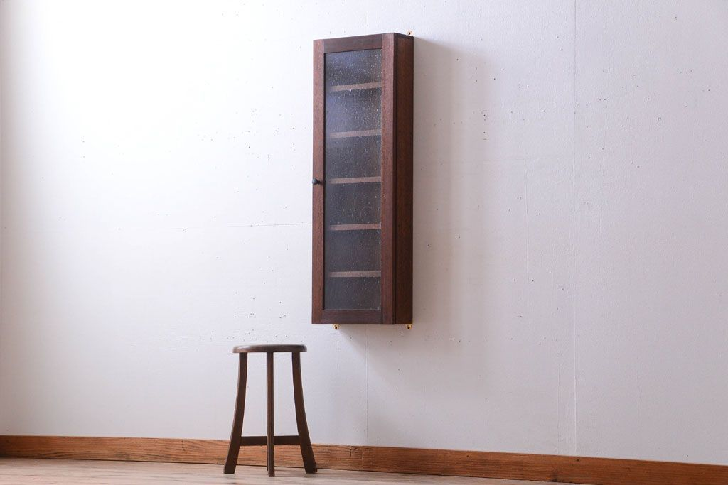 Antique furniture Antique bubble glass door! Fashionable old wooden vertical wall-mounted cupboard (2) | Rafuju Kobo