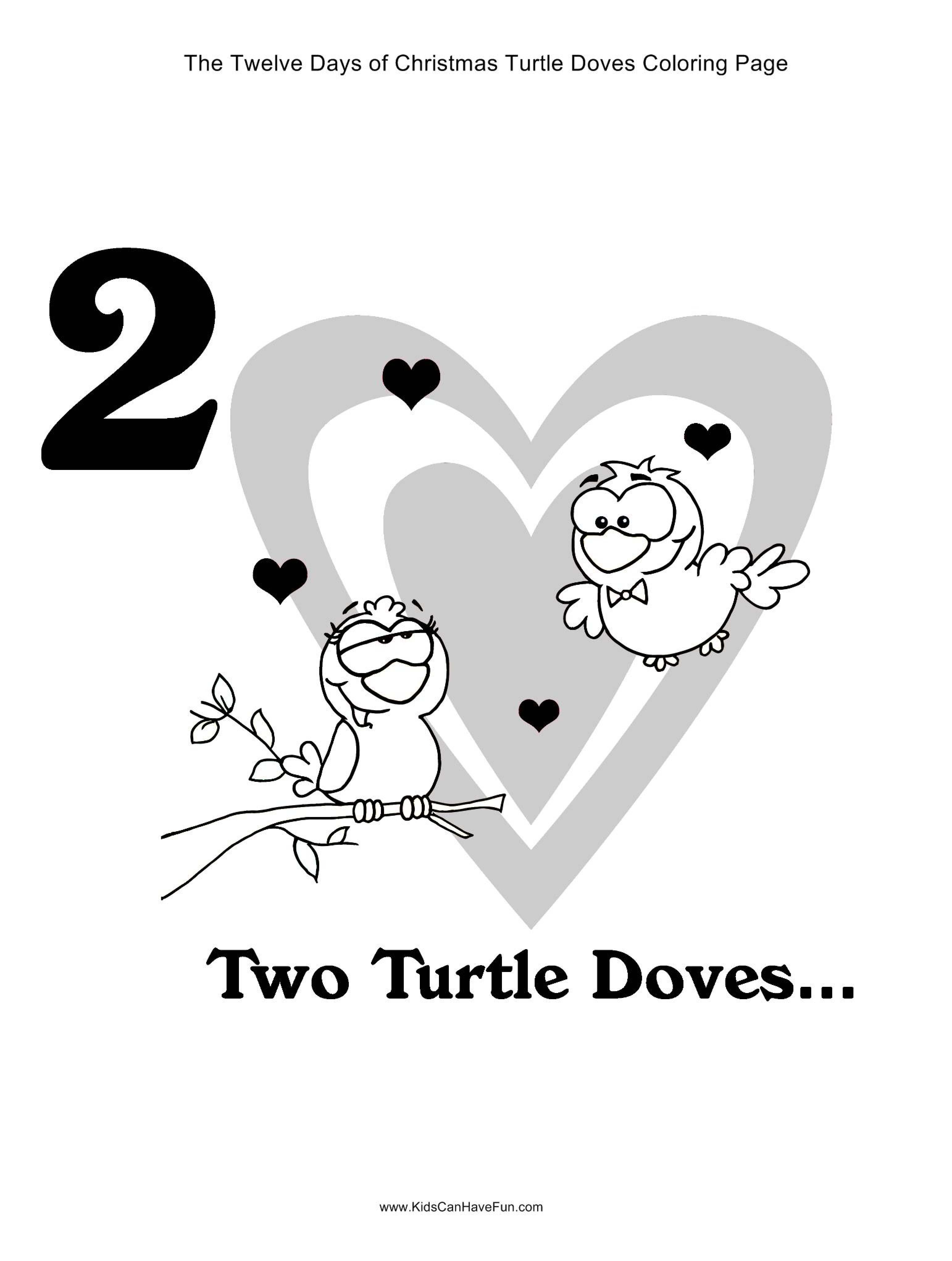 12 Days Of Christmas Two Turtle Doves Coloring Page Kidscanhavefun