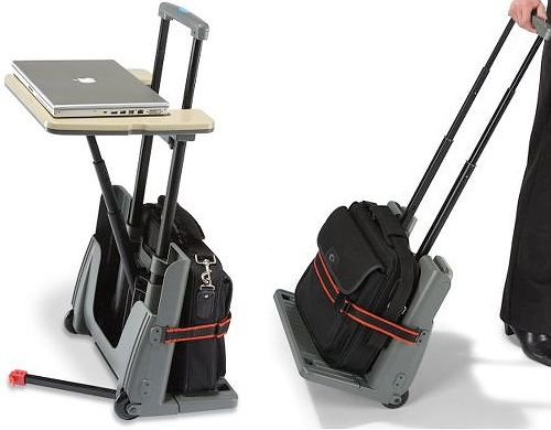 Rolling Luggage Cart with a Pop Up Desk - good choice for travelers ... 751294eead