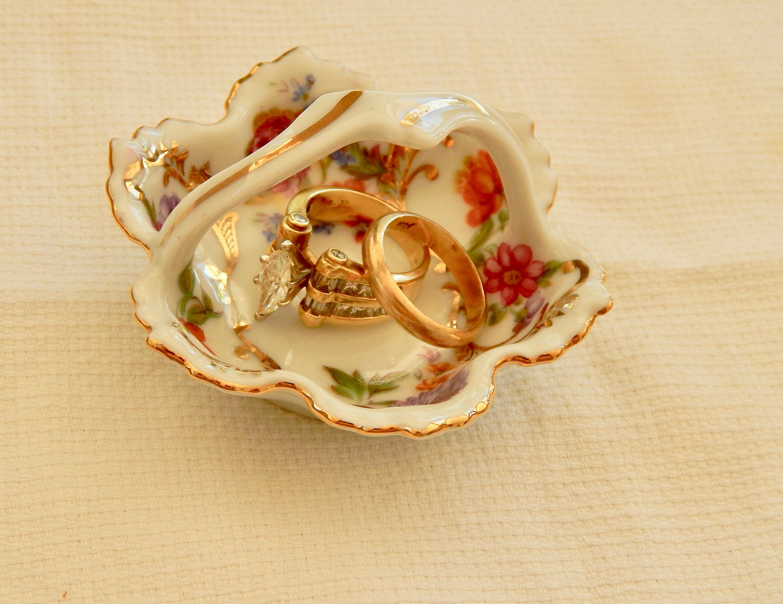 Vintage Gemma Porcelain Basket Salt Cellar/ Jewelry Holder