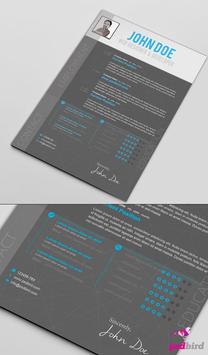 Free Creative Resume Templates PSD | Photoshop Files | Pinterest ...