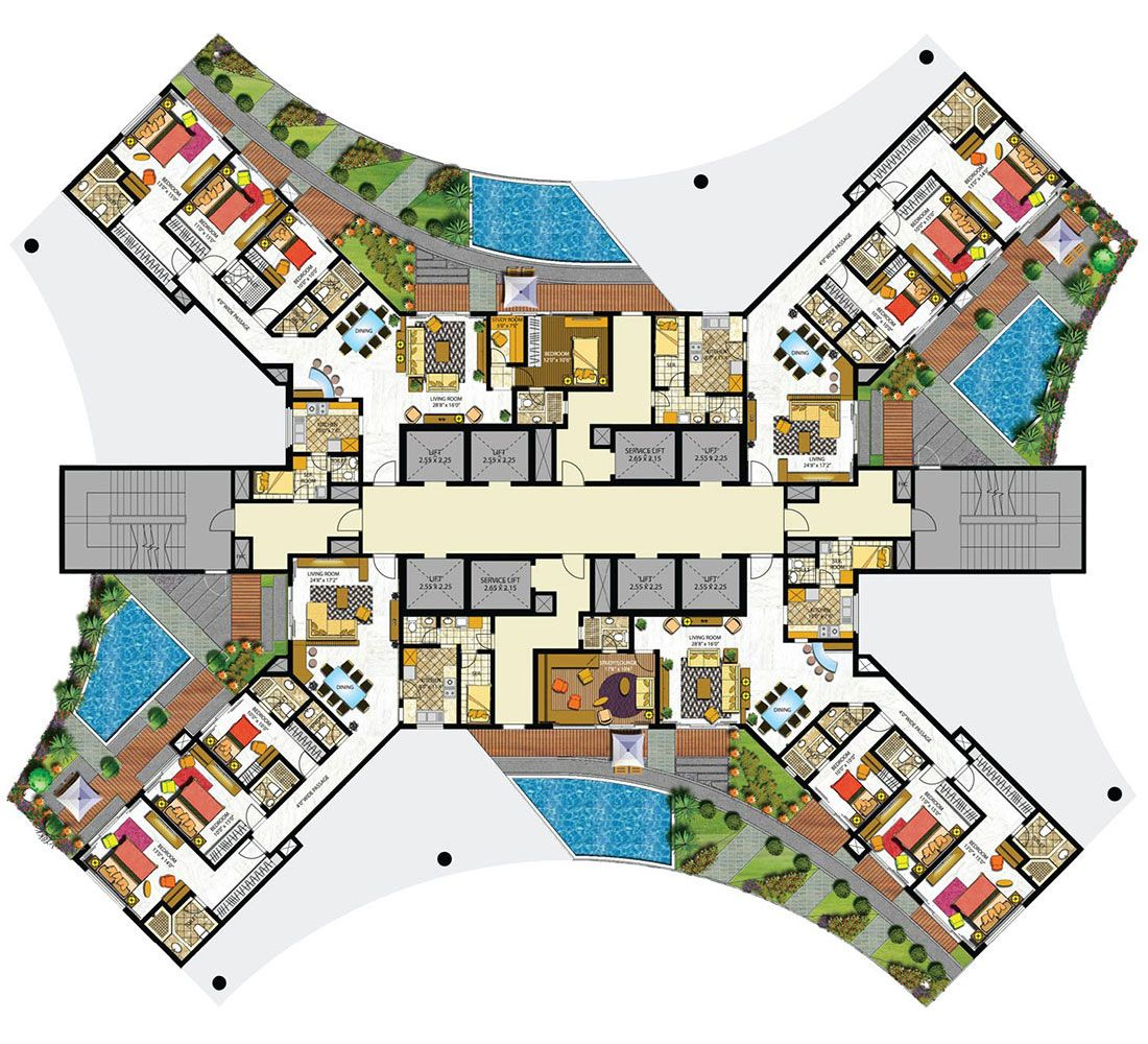 Indiabulls sky floor plans mumbai india architecture for Hotel design layout