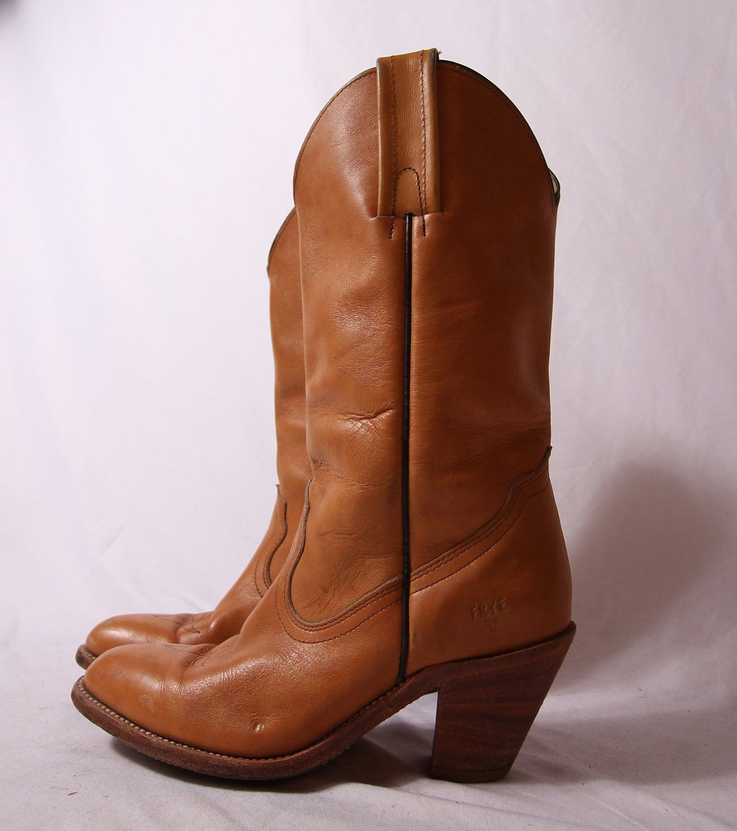 f679f6a7fba Vintage 'FRYE' Tan Leather Cowboy Boot | Western | Country | Boho ...