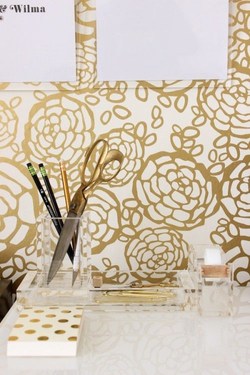 When I realized that I would get a workspace to call my very own, I knew one thing for certain — it had to have wallpaper and that wallpaper needed to be gold. You have no idea how happy this wallpaper makes me.  Wallpaper: Hygge & West Petal Pusher in White/Gold by Oh Joy