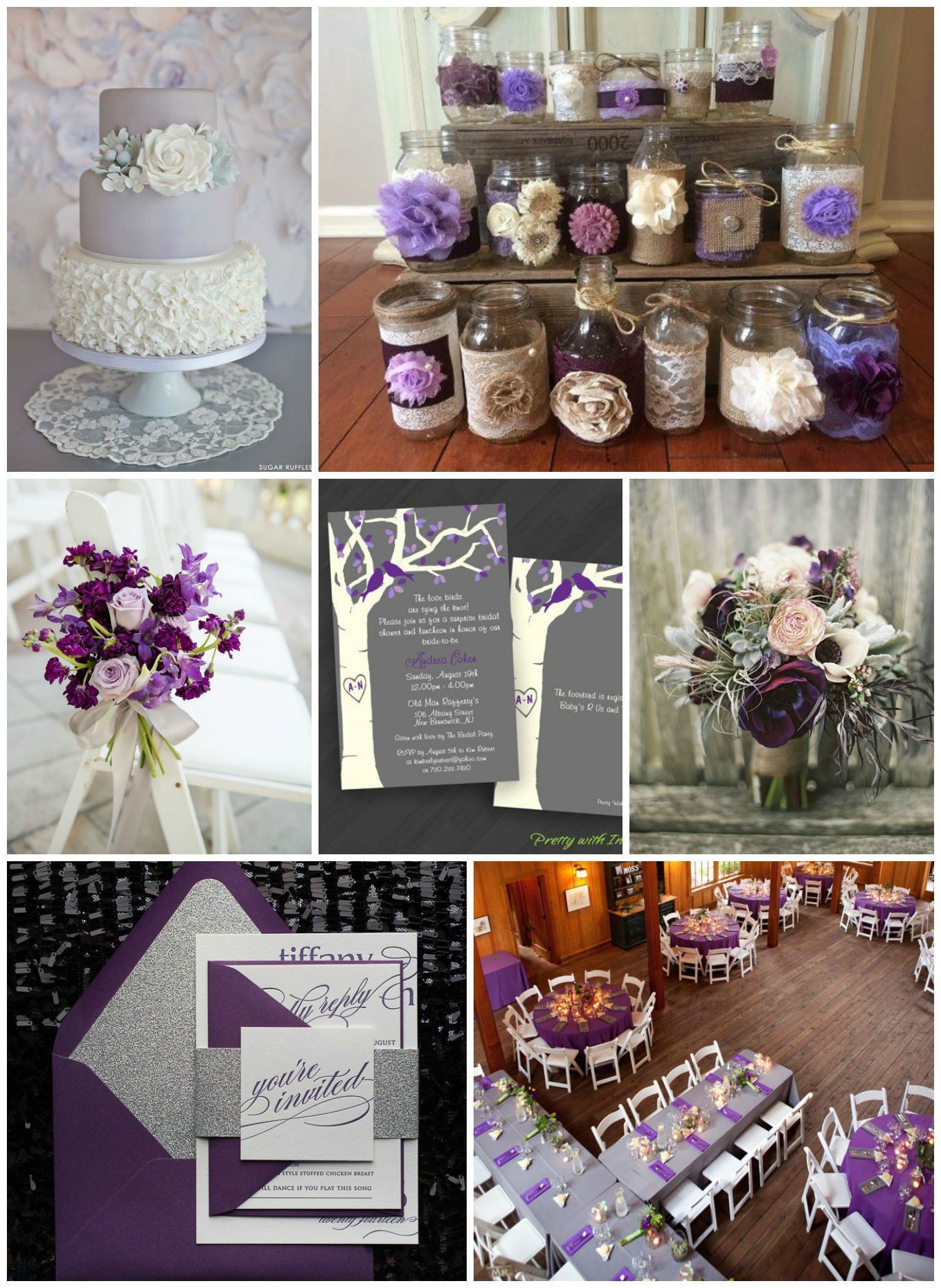 Purple Gray Wedding Ideas Grey Purple Wedding Rustic Purple