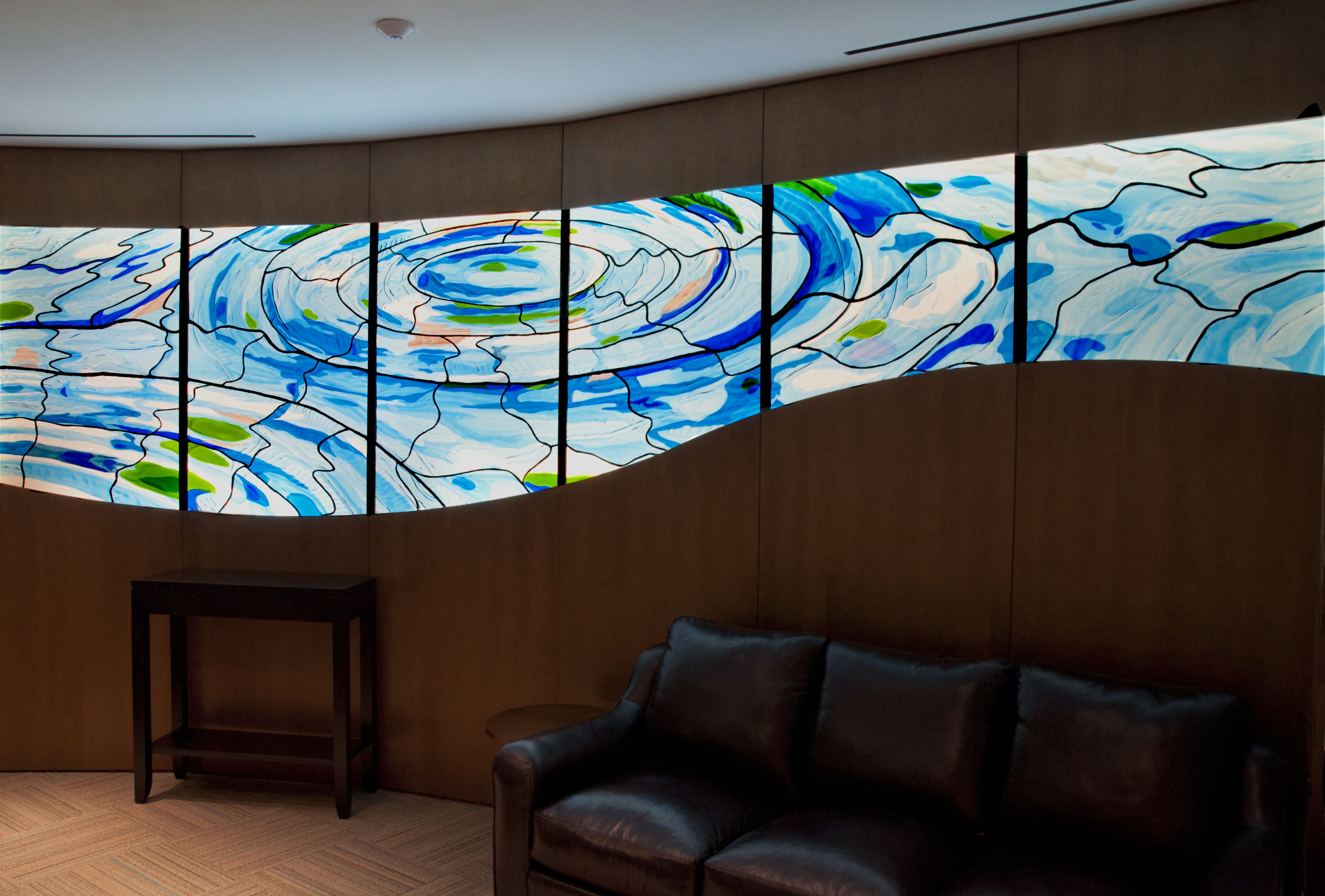 Ed Hoy's Art Glass Installation in Ronald McDonald House in Chicago, IL