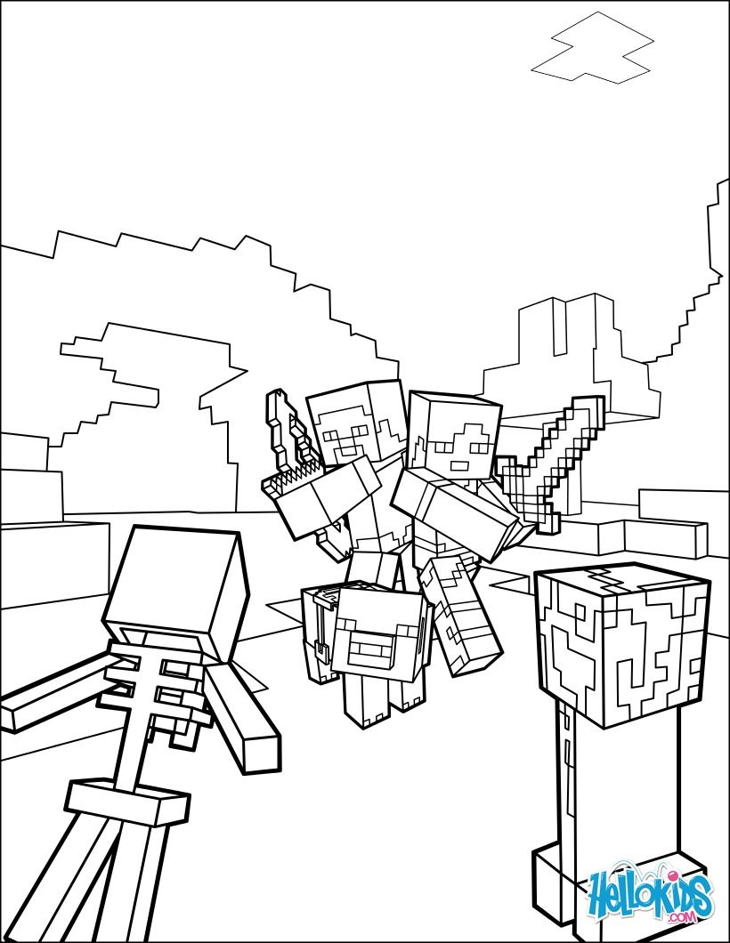 Fight All The Mobs Coloring Page On Minecraft Video Game More Sheets Hellokids