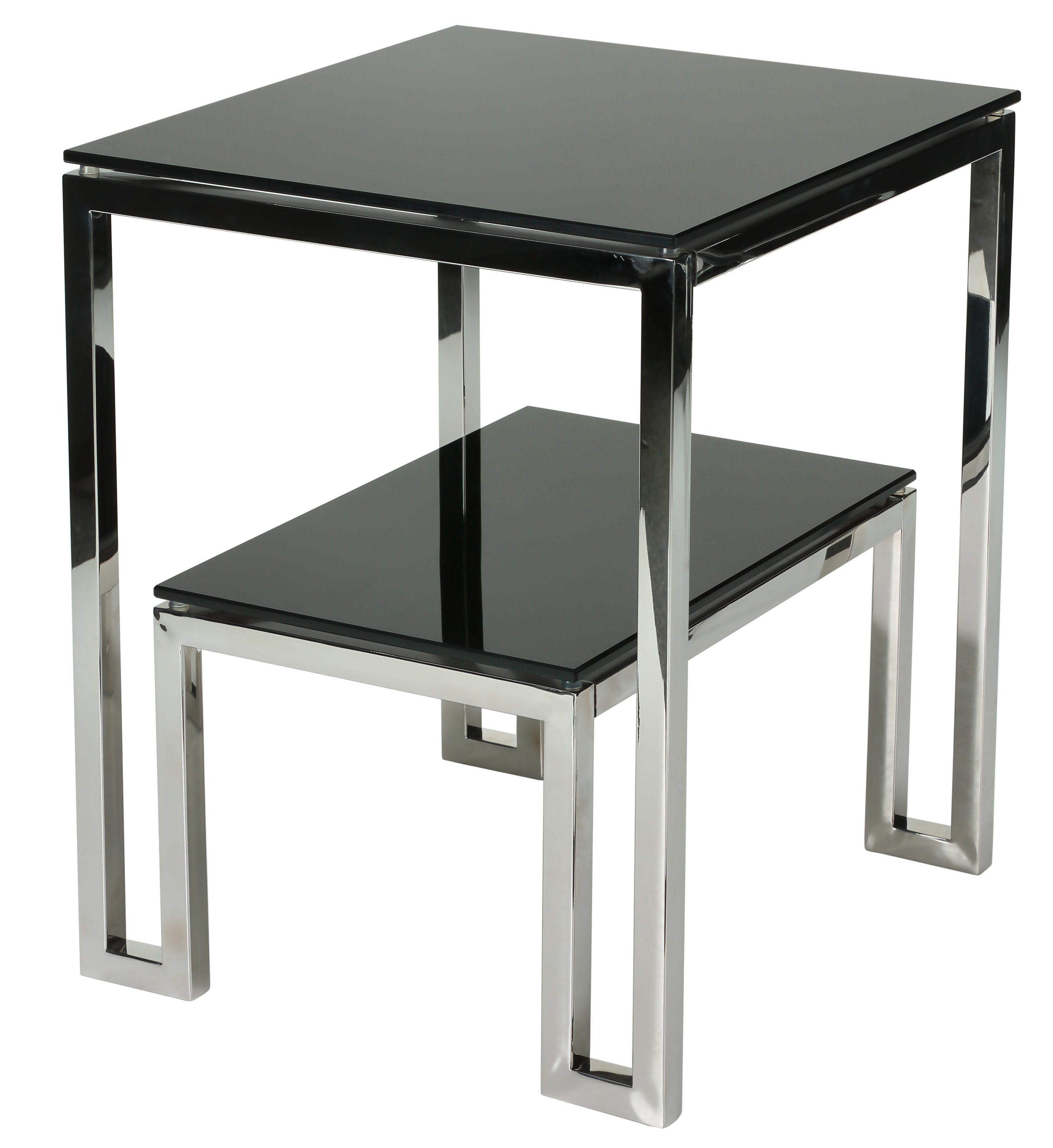 Cortesi Home Adina Contemporary Two Tier Black Glass End Table