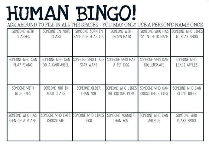 Sample Human Bingo Grids For Team Building Teambonding Human Bingo Icebreaker Activities People Bingo