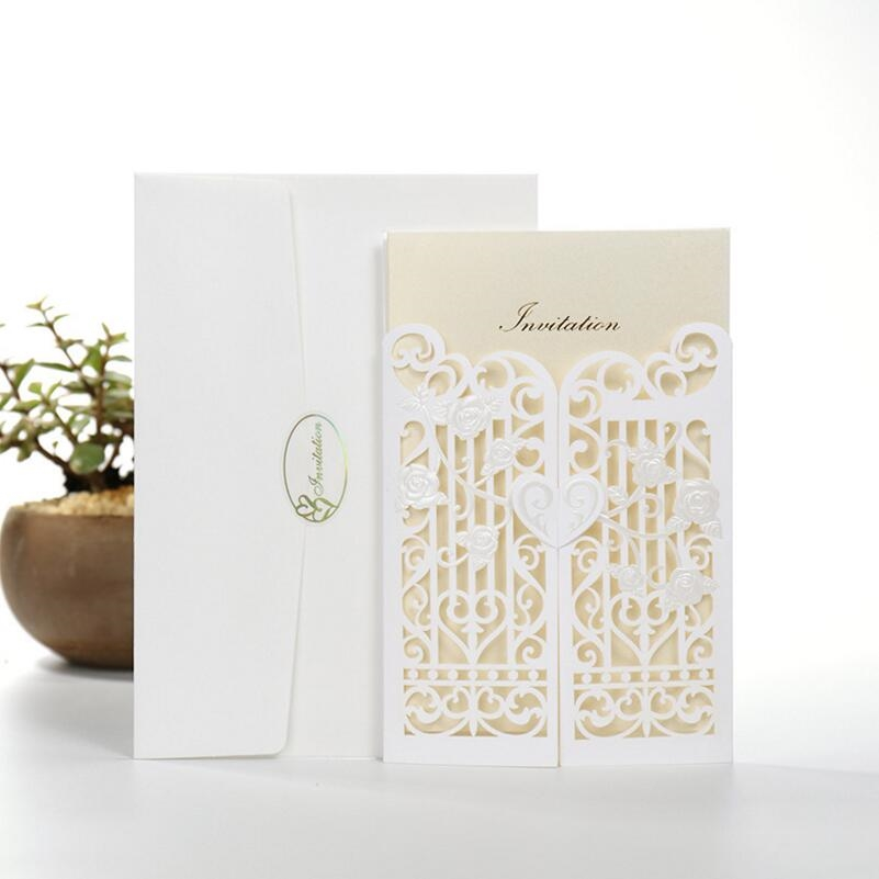 46.80$  Watch more here - http://ainvg.worlditems.win/all/product.php?id=32791449187 - 50pcs/pack Fence Gate Paper Wedding Invitation Card White Laser Cut Party Birthday Party Invitation Blank Inside Page