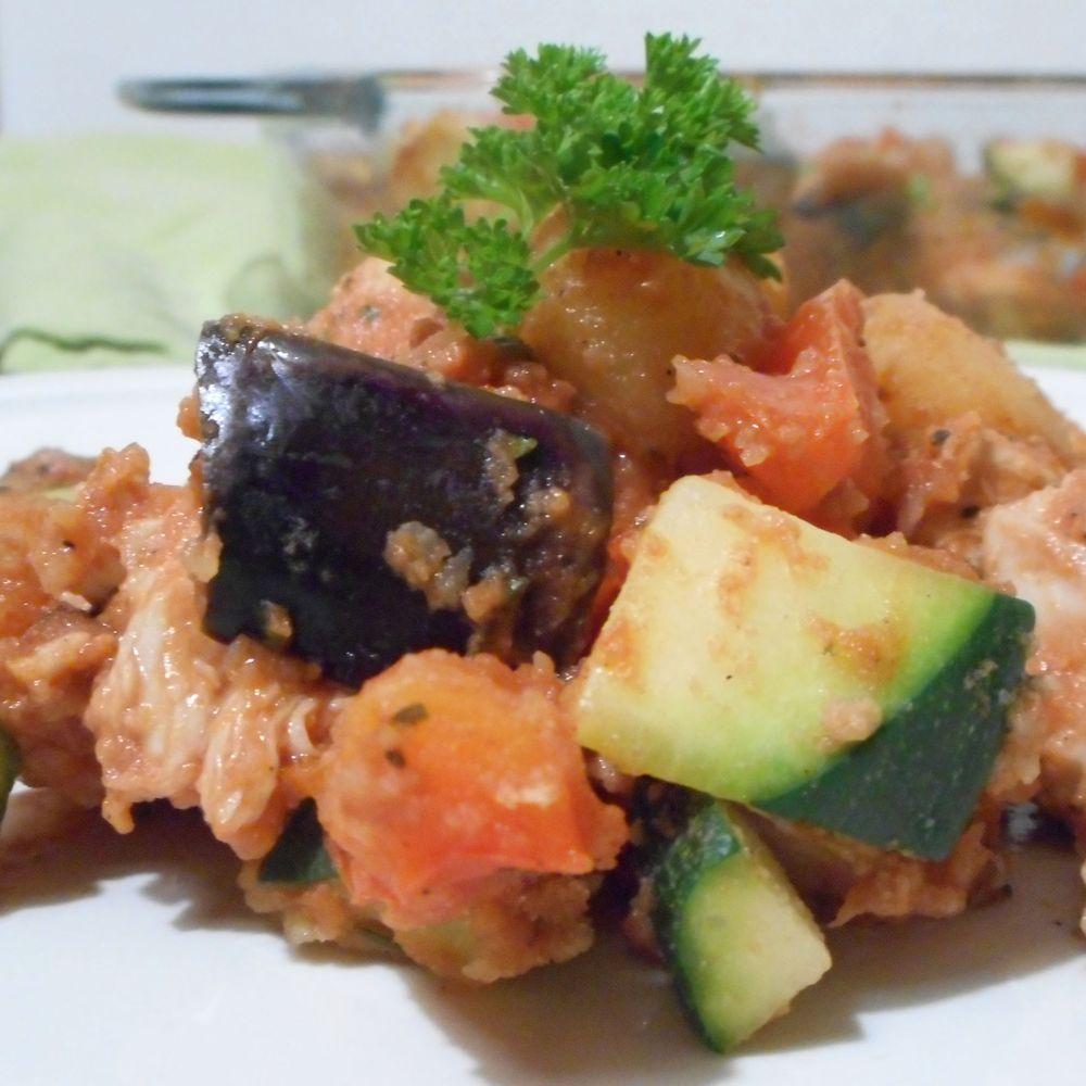 Toscaanse kipschotel met courgette, aubergine en paprika - Het keukentje van Syts