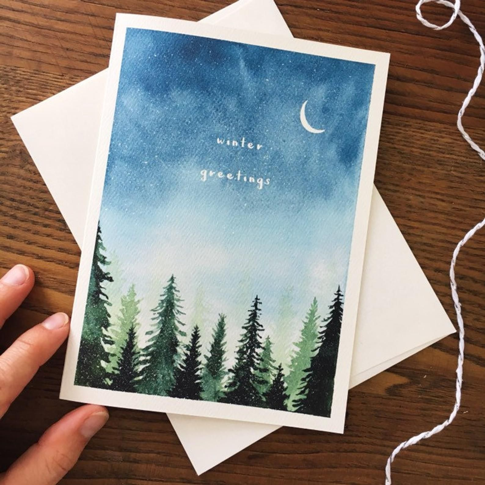 Snowy Trees. Christmas Card. Winter Greetings. Hol