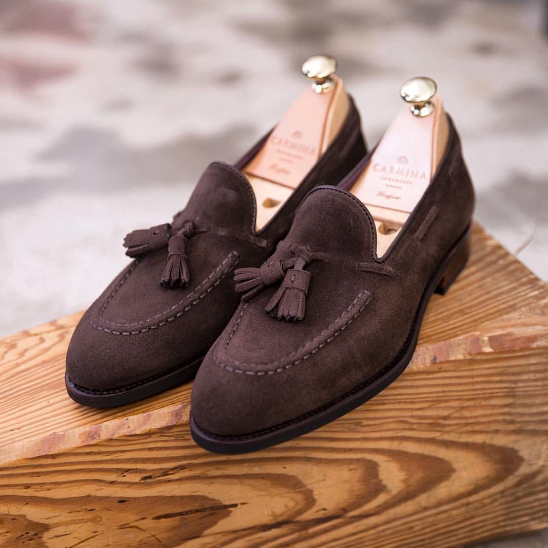 a60664a9bd0 CARMINA — Brown suede tassels loafer in Uetam last. ...