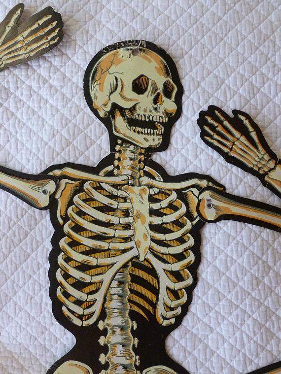 Large Beistle Skeleton Vintage Halloween Glow in the Dark Made in ...
