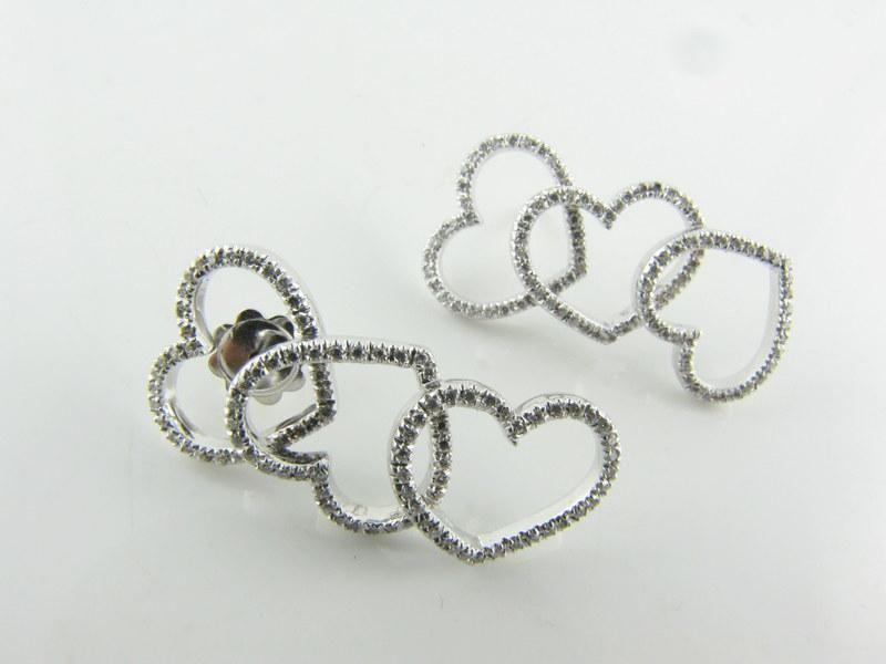 Diamond Cascading Heart 18k Earrings