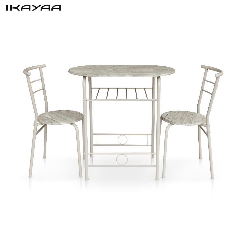 IKayaa Moderne Eettafel Set Metalen Frame 3 STKS Ontbijt Eettafel ...