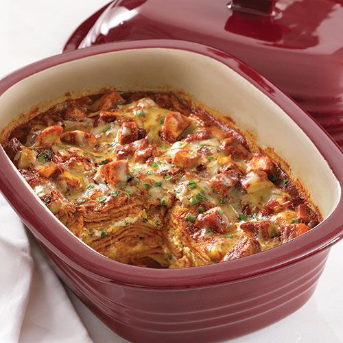 Mexican Chicken lasagne - bake 180°c/fan 160° for 45-50 minutes.