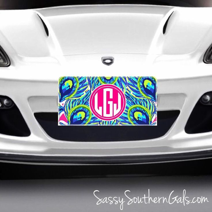 Cool Cars Girly Monogrammed Lilly Pulitzer Inspired Car Tag - Cool car tags