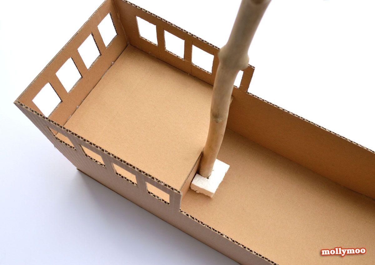 DIY Cardboard Pirate Ship - craft tutorial   Barco pirata, Piratas ...