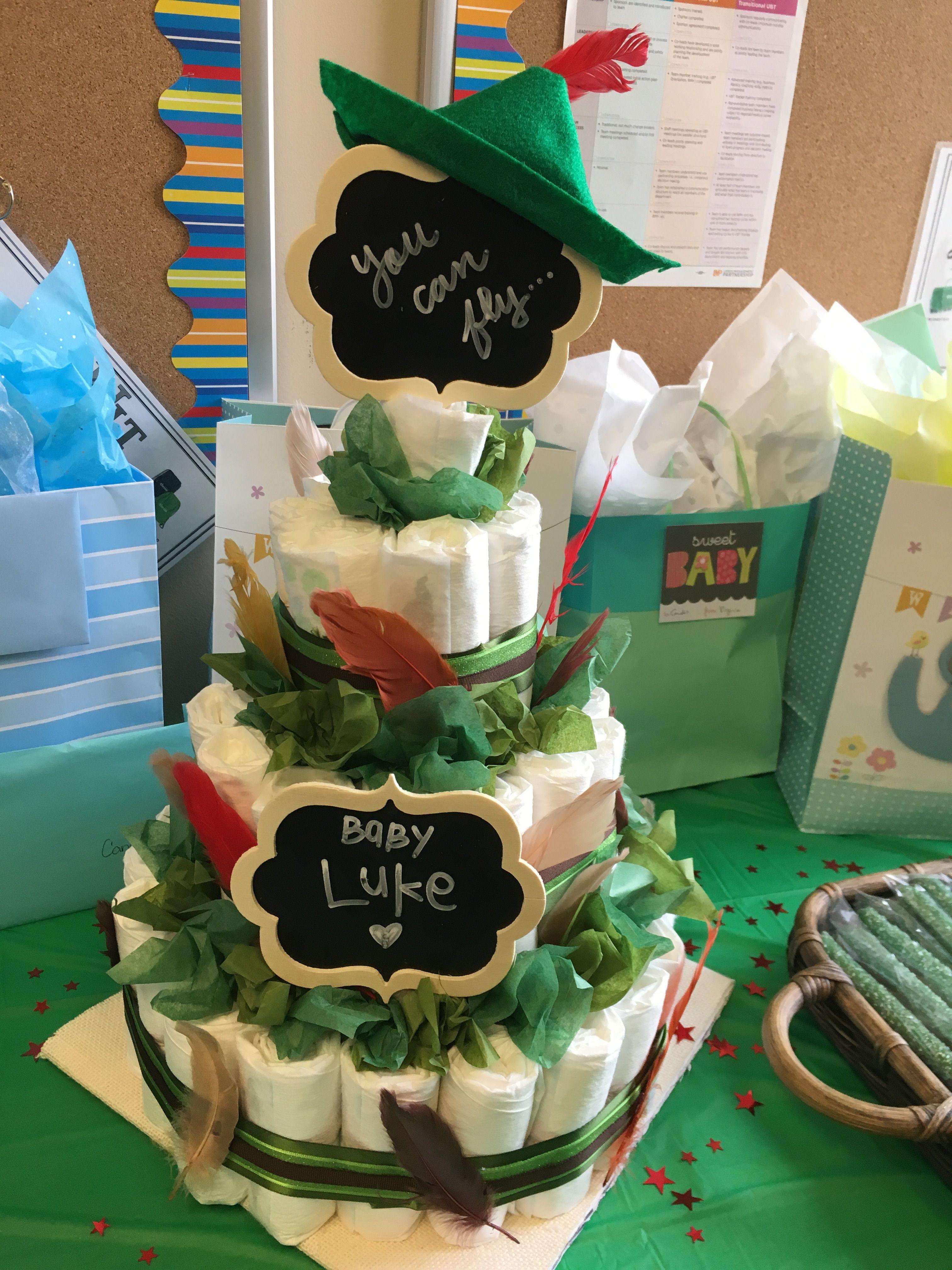 Peter Pan Diaper Cake Disney Baby Shower Baby Shower Diapers Baby Shower Diaper Cake