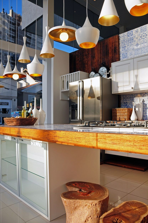 Cozinha Moderna Lustres Pendentes Pedra Retroiluminada Slimstone