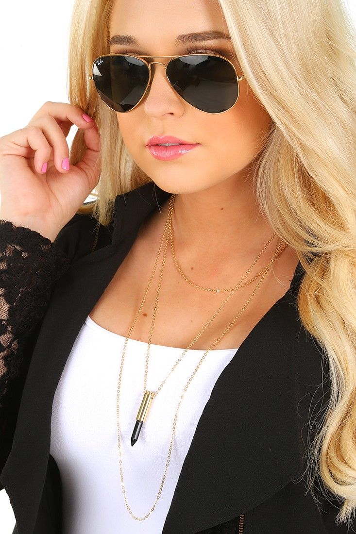 On Your Way Necklace: Gold/Black