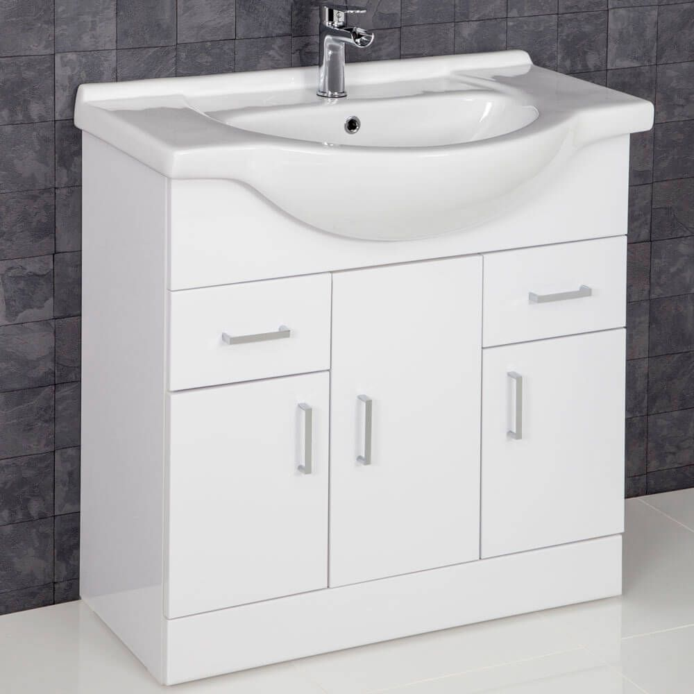 Essence White Gloss Bathroom Sink Cabinet 850mm Width Vanity Units Sink Cabinet Bathroom Sink Cabinets