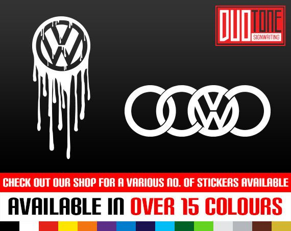 VW Drips VW Audi Abstract Logo Sticker By DuoToneSignwriting - Vinyl decals carbest vinyl cutting designs images on pinterest vinyl decals